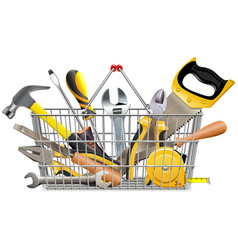 Supermarket basket with instruments vector