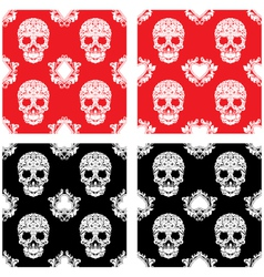 Playing card and skull ornamental pattern vector