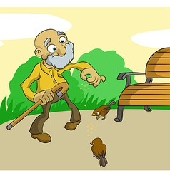 Old man feed birds vector