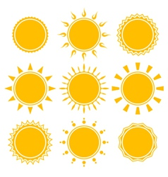 Set of shiny bright yellow sun vector