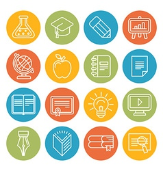 Linear educational icons and signs vector