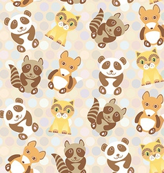 Polka dot background pattern funny cute raccoon vector