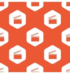 Orange hexagon clapperboard pattern vector