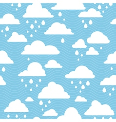 Blue sky with rainy clouds seamless pattern vector