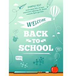 Back to school poster education background vector