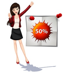 Woman and promotion sign vector