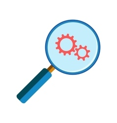 Magnifying glass with gearwheels vector