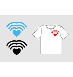 Wi fi love template to design t-shirts for vector