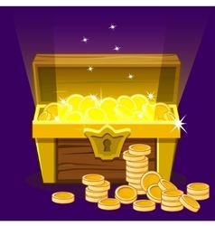 Opened antique treasure chest coin vector