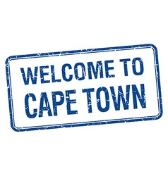 Welcome to cape town blue grunge square stamp vector
