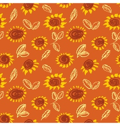 Artistic seamless pattern with flower and leaf vector