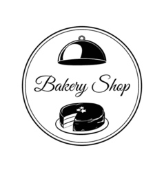 Bakery shop logo with cakes vector