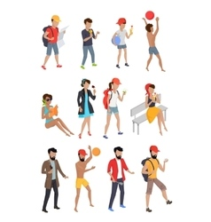 Big set summer people characters vector