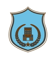 Blue police badge icon image vector