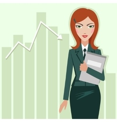 Business woman on the chart sales background vector image vector image