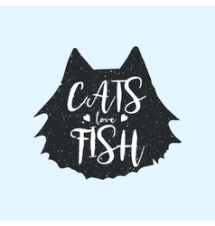Cats love fish cute or fun t-shirt print design vector