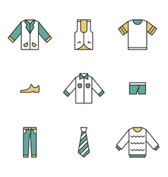 Clothing garments and accessories icons flat vector