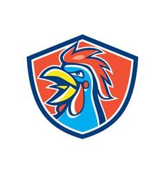 Cockerel Rooster Crowing Head Shield vector image vector image