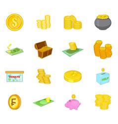 coin icon set cartoon style vector image