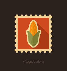 corn flat stamp vegetable vector image