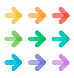 Cute colorful transparent arrow icons set vector image