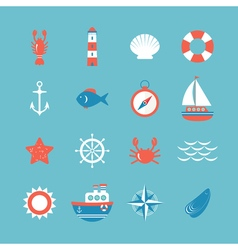 Decorative nautical icon set Marine theme vector image vector image
