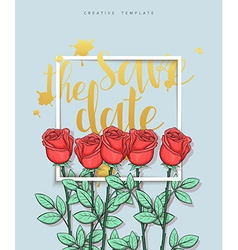 Design wedding postcard with roses petals and vector image vector image