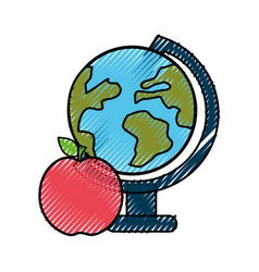 earth plenet desk with apple fruit vector image vector image