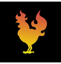 Fire rooster logo cock silhouette on a black vector