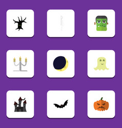 Flat icon halloween set of crescent pumpkin vector