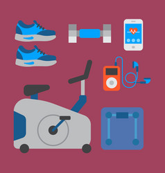 flat icons set of fitness sport equipment and vector image
