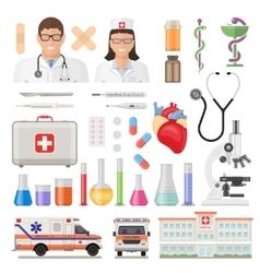 Flat Medicine Icon Set vector image