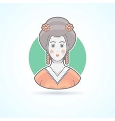 Geisha japanese traditional woman dress icon vector