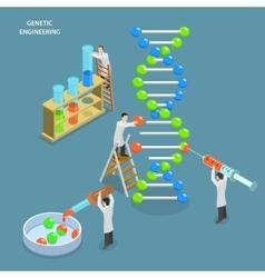 Genetic engineering isometric flat concept vector