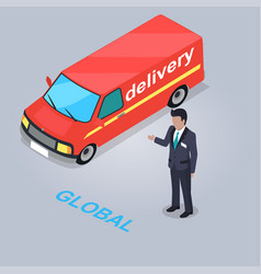 Global delivery service isolated vector