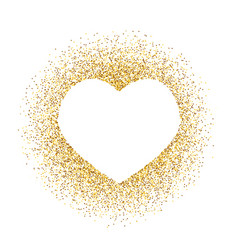 Golden glitter heart frame with space for text vector
