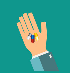 hand holding medical capsule healthcare concept vector image