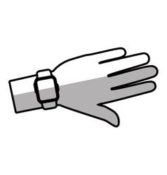 Hand smart watch wearable technology shadow vector