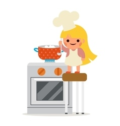 Happy girl cook soup mother helper little vector