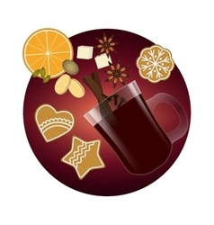 Mulled wine christmas spices and cookies vector