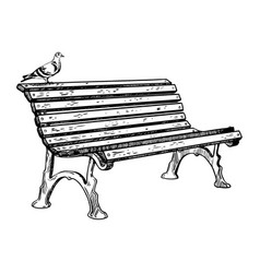 Park bench engraving vector