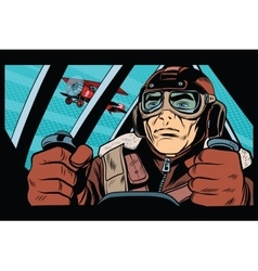 Pilot flying military aircraft vector image vector image