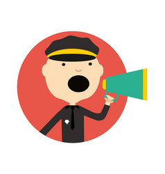 Policeman in uniform with megaphone icon vector
