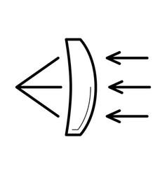 Refraction of light through a glass lens icon vector