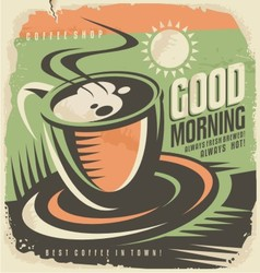 Retro poster design template for coffee shop vector