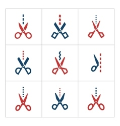 Set color icons of scissors with cut line vector