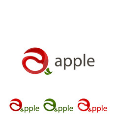 set logo apple sign abstract apple vector image vector image
