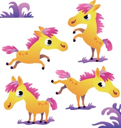 Set of cute cartoon pony vector image