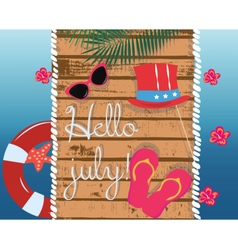 Summer Card with glasses and flipflops vector image vector image
