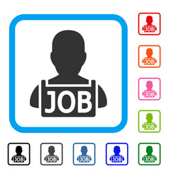 Unemployed framed icon vector